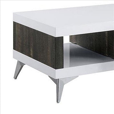 Two Tone Coffee Table with Open Shelf White and Brown By Casagear Home BM240042