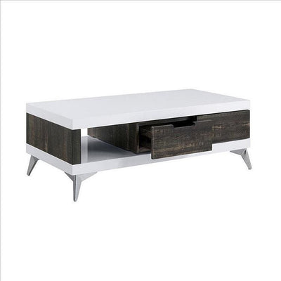 Two Tone Coffee Table with Open Shelf, White and Brown By Casagear Home