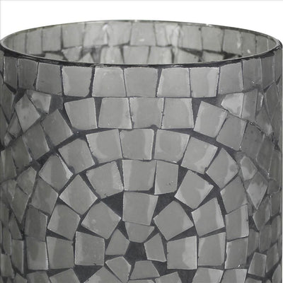 Glass hurricane with Mosaic Square Pattern Large Set of 2 Gray By Casagear Home BM240060