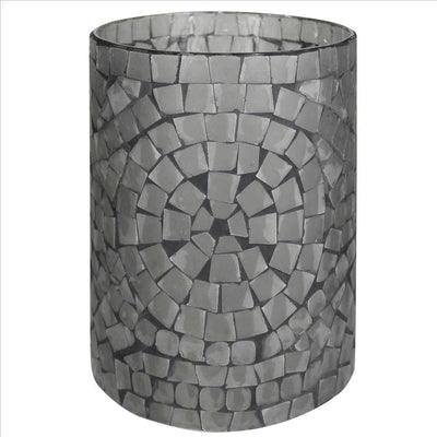 Glass hurricane with Mosaic Square Pattern, Large, Set of 2, Gray By Casagear Home