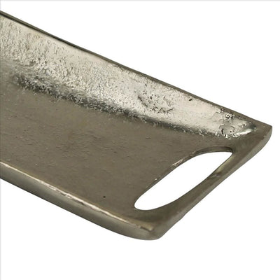 Rectangular Metal Tray with Cut Out Handles Large Set of 2 Silver By Casagear Home BM240076