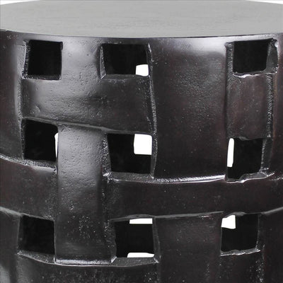 Metal Side Table with Interwoven Drum Base Black By Casagear Home BM240089