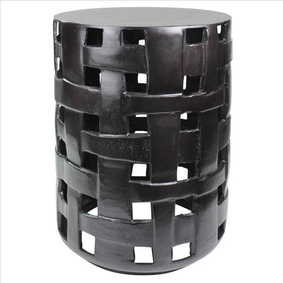 Metal Side Table with Interwoven Drum Base, Black By Casagear Home