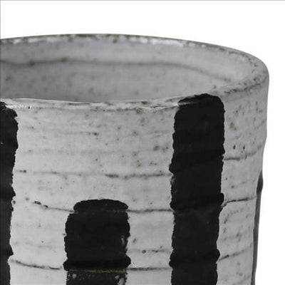 Ceramic Cachepot with Alternate Stripes Pattern Medium Set of 4 Gray By Casagear Home BM240107