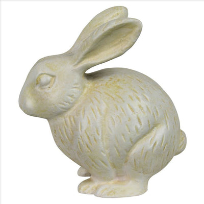 Metal Rabbit Figurine with Textured Design, Antique White By Casagear Home