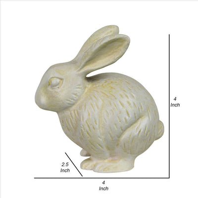 Metal Rabbit Figurine with Textured Design Antique White By Casagear Home BM240120