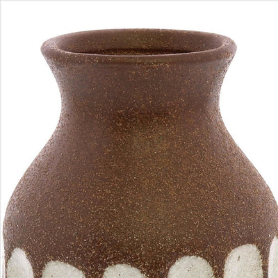 Ceramic Textured Vase with Vertical Stripe Pattern Brown By Casagear Home BM240128
