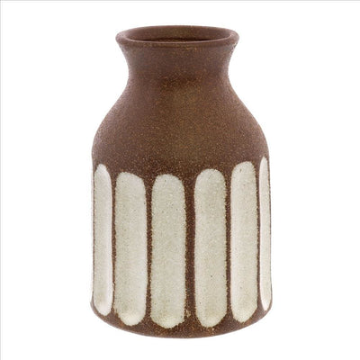 Ceramic Textured Vase with Vertical Stripe Pattern, Brown By Casagear Home