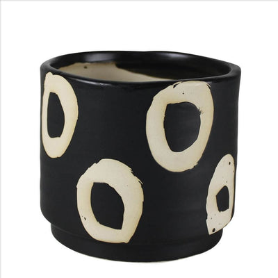 Round Ceramic Cachepot with Circle Motif, Small, Black By Casagear Home