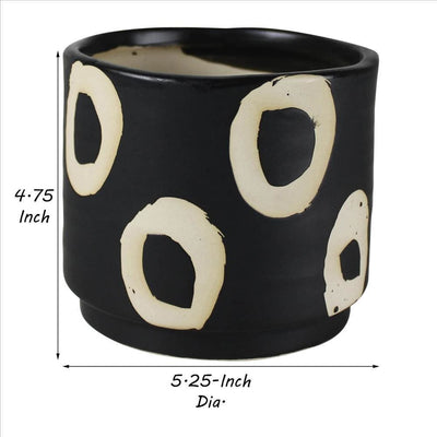 Round Ceramic Cachepot with Circle Motif Small Black By Casagear Home BM240136