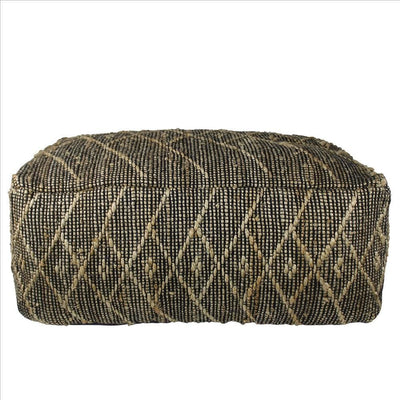 Hemp Pouf with Woven Tribal Pattern Black By Casagear Home BM240173