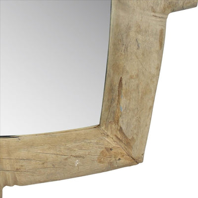 Accent Mirror with Square Wheel and Rustic Style Brown By Casagear Home BM240200