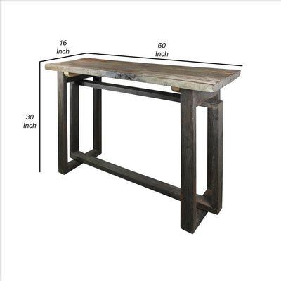 Rustic Style Wooden Console Table with Intersected Sled Base Gray By Casagear Home BM240210