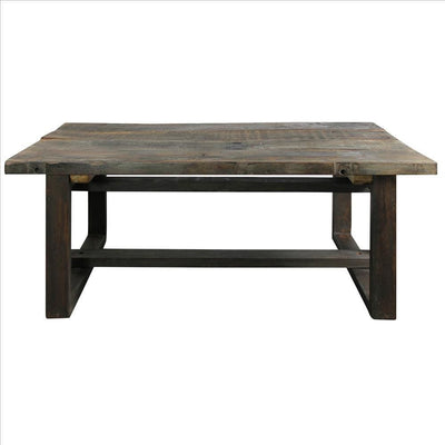 Rustic Style Wooden Coffee Table with Intersected Sled Base Gray By Casagear Home BM240211
