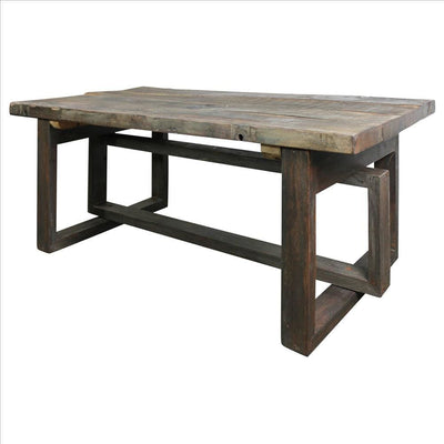 Rustic Style Wooden Coffee Table with Intersected Sled Base, Gray By Casagear Home