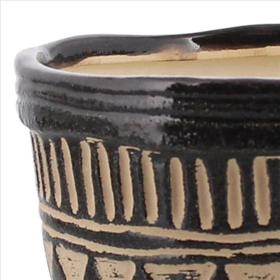 Ceramic Round Bowl with Painted Tribal Pattern Small Black By Casagear Home BM240226