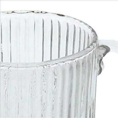 Glass Pitcher with Ribbed Pattern and Curved Handle Set of 4 Clear By Casagear Home BM240245