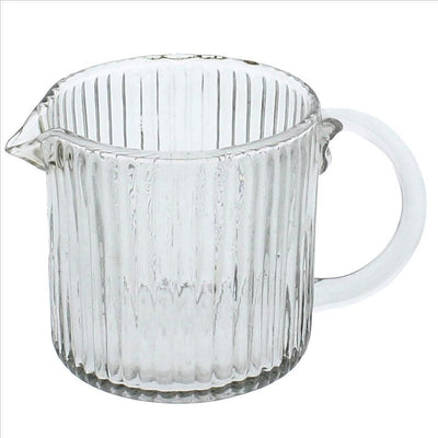 Glass Pitcher with Ribbed Pattern and Curved Handle, Set of 4, Clear By Casagear Home