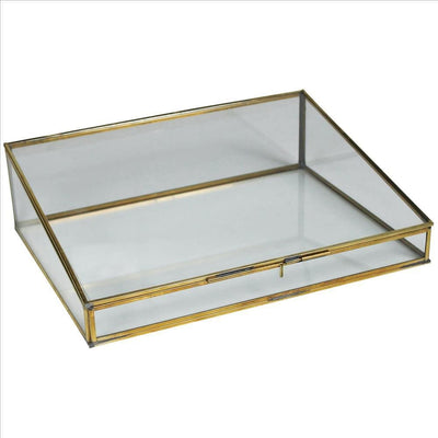 14 Inch Metal and Glass Display Case, Set of 2, Brass and Clear By Casagear Home