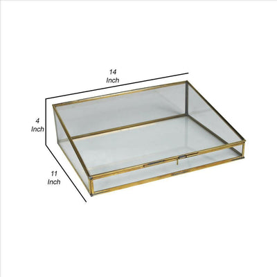 14 Inch Metal and Glass Display Case Set of 2 Brass and Clear By Casagear Home BM240254