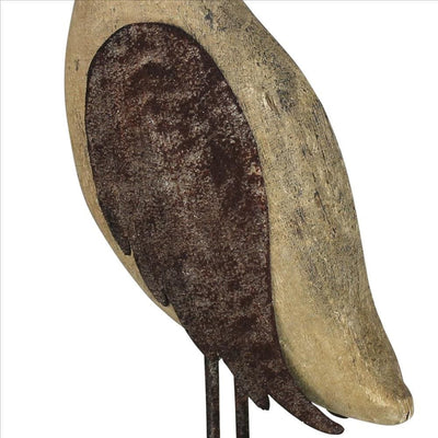 36 Inch Wooden Bird Accent Decor Set of 2 Black and Brown By Casagear Home BM240269