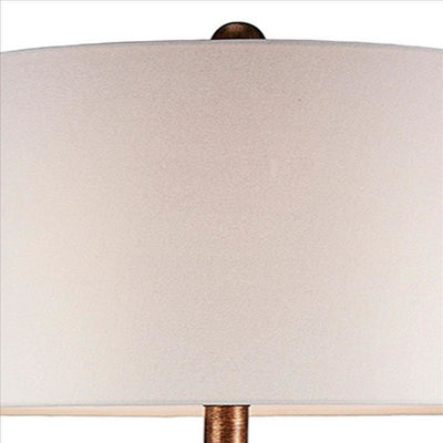 Table Lamp with Curved Paneled Polyresin Base Bronze By Casagear Home BM240306