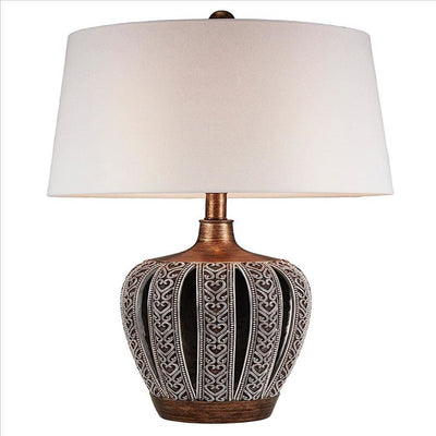 Table Lamp with Curved Paneled Polyresin Base, Bronze By Casagear Home