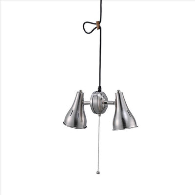 Pendant Ceiling with Metal Cone Adjustable 2 Light, Silver By Casagear Home
