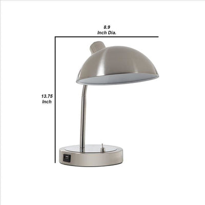 Desk Lamp with Adjustable Head and USB Port Brushed Nickel By Casagear Home BM240324