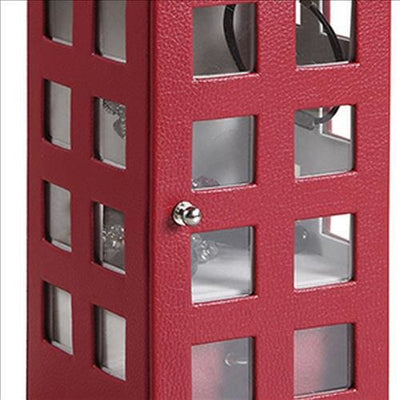 Telephone Booth Jewelry Box with 2 Drawers Burgundy Red By Casagear Home BM240353
