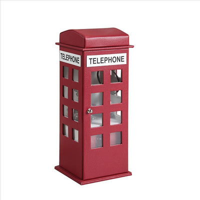 Telephone Booth Jewelry Box with 2 Drawers, Burgundy Red By Casagear Home
