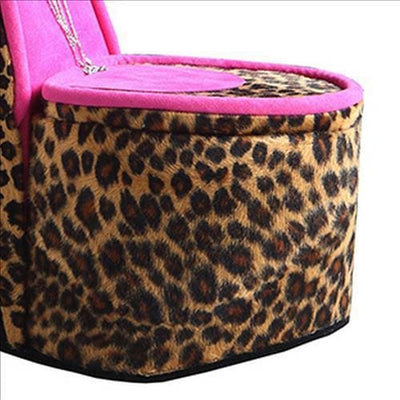High Heel Cheetah Shoe Jewelry Box with 3 Hooks Multicolor By Casagear Home BM240357