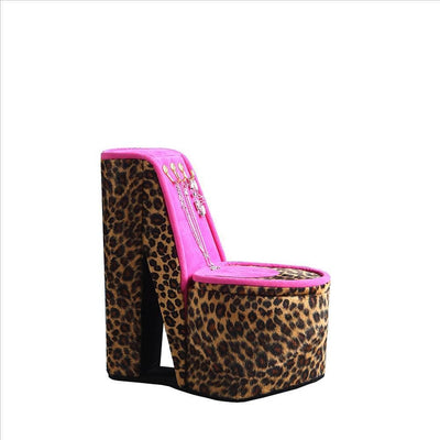 High Heel Cheetah Shoe Jewelry Box with 3 Hooks, Multicolor By Casagear Home