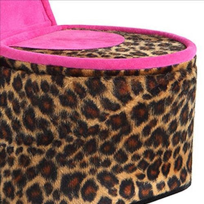 High Heel Cheetah Shoe Jewelry Box with 2 Hooks Multicolor By Casagear Home BM240365