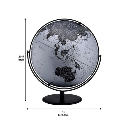 Globe Accent Decor with Inbuilt LED Black and Gray By Casagear Home BM240408