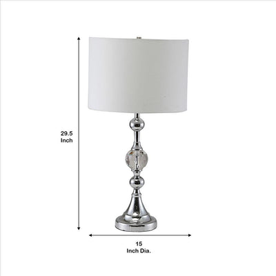 Table Lamp with Metal and Crystal Accents Silver and White By Casagear Home BM240430
