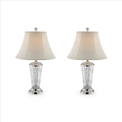 Table Lamp with Semi Fluted Glass Base, Set of 2, Off White By Casagear Home