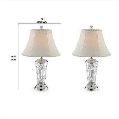 Table Lamp with Semi Fluted Glass Base Set of 2 Off White By Casagear Home BM240443