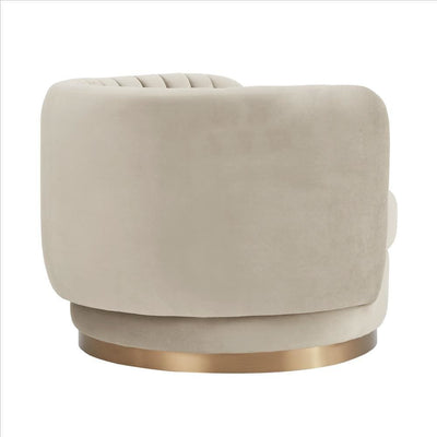 Contemporary Style Swivel Chair with Vertical Tufted Channels Light Gray By Casagear Home BM240698