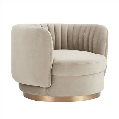 Contemporary Style Swivel Chair with Vertical Tufted Channels, Light Gray By Casagear Home