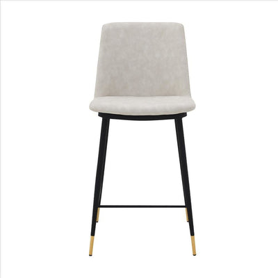 26 Inch Leatherette Seat Counter Height Barstool,Black and White By Casagear Home BM240759