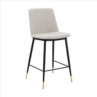 26 Inch Leatherette Seat Counter Height Barstool,Black and White By Casagear Home