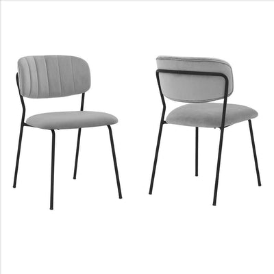Metal Dining Chair with Fabric Seats,Set of 2,Black and Gray By Casagear Home