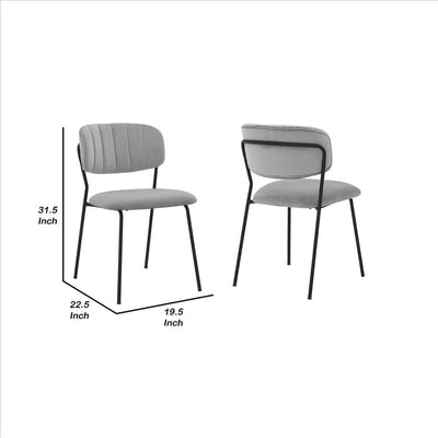 Metal Dining Chair with Fabric Seats,Set of 2,Black and Gray By Casagear Home BM240772