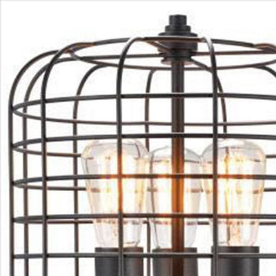 Cage Design Shade Metal Table Lamp with Pull Chain Switch Black By Casagear Home BM240865