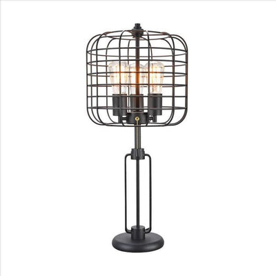 Cage Design Shade Metal Table Lamp with Pull Chain Switch, Black By Casagear Home