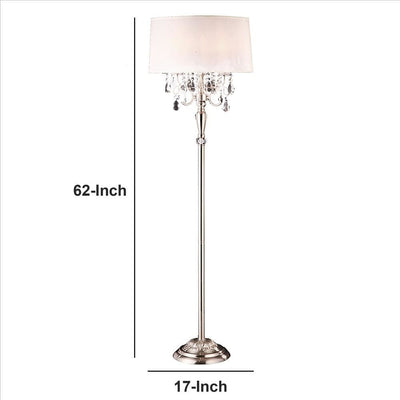 Stalk Design Metal Floor Lamp with Hanging Crystal Accent Silver By Casagear Home BM240909