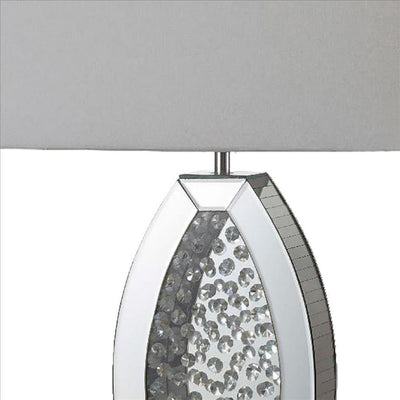 Table Lamp with Mirrored Geometric Body and Crystal Embedding Silver By Casagear Home BM240920