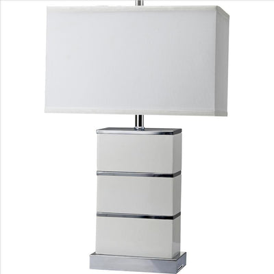 Table Lamp with Stacked Block Design Body and USB Plugin, Silver By Casagear Home