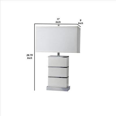 Table Lamp with Stacked Block Design Body and USB Plugin Silver By Casagear Home BM240925